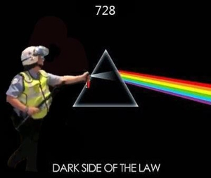 When Pink Floyd and police officer 728 meet on the dark side of the law. (artist unknown)