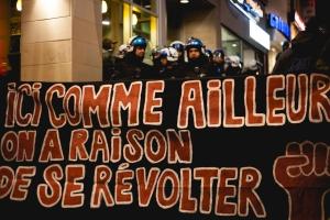 La bannière est réutilisée lors de la vigile silencieuse contre la brutalié. Banner reused as intended during vigil against police brutality - Montréal March 29 mars 2013. photo : Thien V.