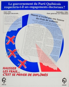 """""""Will the Parti Québécois government respect its electoral promises? Marois does not exclude a tuition increase. To increase tuition is to deprive us of graduates"""" by the FECQ & FEUQ. circa 1997. (artist unknown"""