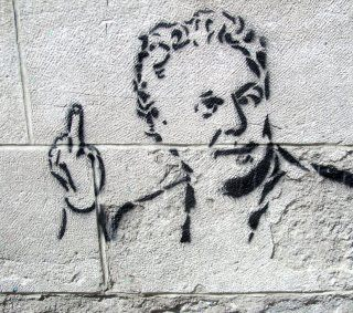A stencil of Jean Charest. Photographer and artist unknown.