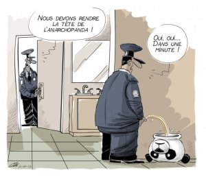 """We need to give Anarchopanda's head back! Yeah, yeah... In a minute!"" editorial cartoon by André-Philippe Côté, 10 april 2013."