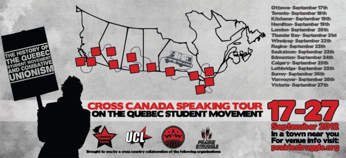 The history of the Québec Student Movement as told during cross Canada speaking tour. poster: Prairie Struggle.