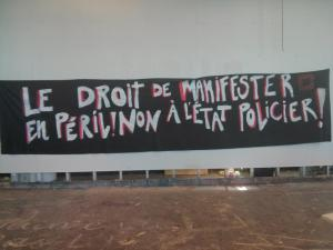 """The right to demonstrate in peril. no to the police state."" by Association facultaire étudiante de science politique et droit (AFESPED-UQAM)."