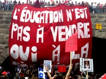 """""""Education is not for sale. Yes to the general strike."""" Photo March 22, 2012 by David Widgington."""