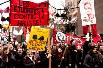 """""""Women students against tuition increases."""" Photo taken during the feminist march against tuition increases. Montréal, Thursday, March 8, 2012 © Eduardo Fuenmayor"""