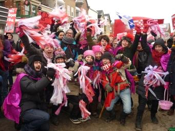 Membres du P!nk bloc Montréal lors d'une manifestation du 1er mars 2012. Photographe inconnu.e.