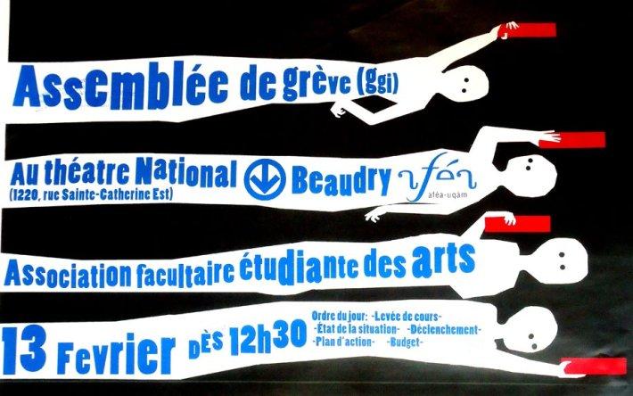 Émetteur: Association facultaire étudiante des arts de l'UQAM (AFÉA). Affiche par Stéphanie Bernier. 13 fév./Feb 2012.